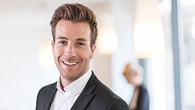 Man left interview smiling